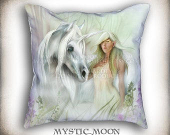 Lady of the Meadow...PILLOW with Insert... Unicorn and Meadow Nymph... 18x18 Inch