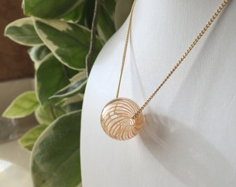 Beautiful Handblown Glass Orb Necklace 14K Gold-filled Chain Bright and Cheery Orange Yellow and Clear Striped Very Summery