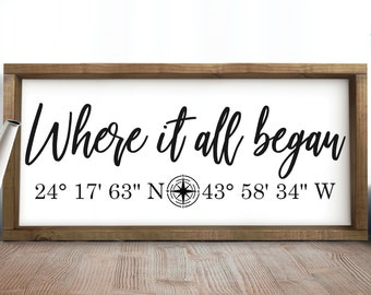 Where It All Began Sign, Coordinates Sign, Wedding Gift, Personalized Latitude Longitude Sign,Housewarming Gift,Custom Coordinates Wood Sign