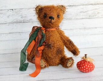 Mr. Crisp 7 Inch Fall Themed Artist Mohair Teddy Bear (HAFAIR)