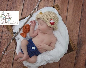 Newborn fisherman outfit, Newborn photography prop, newborn boy, newborn girl,crochet hat, newborn fisherman hat and diaper cover