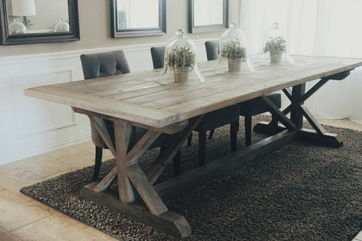 made to order x style farmhouse trestle table rh etsy com farm style kitchen table plans sketchup farm style kitchen table and chairs