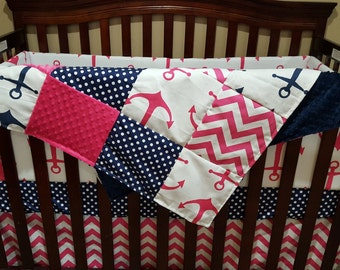Nautical Baby Girl Crib Bedding - Pink Anchors, Navy Dot, Pink Chevron, and Navy Anchor Crib Bedding Ensemble
