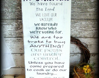 Rustic Sign, No Soliciting Sign, Black and White Home Decor, Large Wooden Sign, Funny Gift, No Solicitation, No Solicitors, Primitive Decor