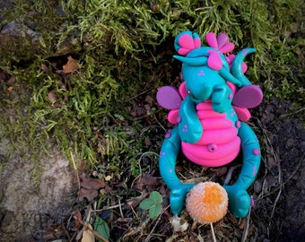 "CHRISTMAS Polymer Clay Dragon GUMDROP Series - ""Sugar"" Limited Edition Christmas Holiday Collectible"