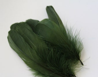 """Dark Olive Green Goose Nagoire Feathers / 10 Loose Feathers / 4""""-6"""""""
