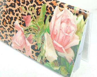 2018 - 2019 mini Planner - Leopard Roses - two year pocket planner - monthly calendar - pink roses leopard print horizontal stocking stuffer