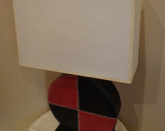 Red Black Leather Wheel Lamp by Arteriors Import Trading