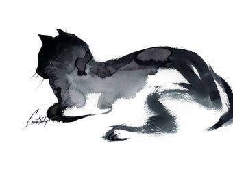 Cat Minimalist Original Watercolor Painting, Painting of Cat, Cat Watercolor, Black and White Cat Art, Minimalist Cat Painting, Wall Art