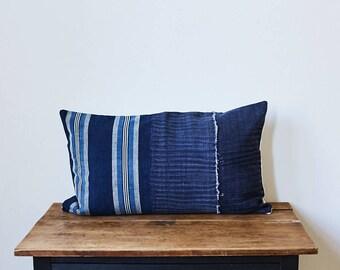 """Vintage Japanese indigo Stripes pillow 16"""" x 26"""""""