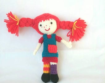 "Handmade crochet doll ""Pippi Longstocking"""