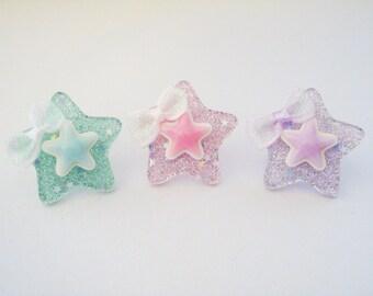Fairy Kei Pretty Pastel Twinkle Star Rings - choose one
