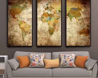 Push Pin Vintage World Map Poster Painting Print Home Decor Large Wall Art Wall Picture For Living Room Decor (L82)