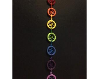 7 chakras rainbow dream catcher. 2.5cm hoop diameter dreamcatcher hand made