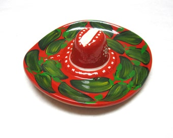 Sombrero Hat Terra Cotta Appetizer Tray Hors d'oeuvre Dish