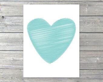 Heart Print - Blue Heart Art Print - Love Heart Pirnt - Nursery Heart Wall Art - Modern Heart Art - Heart Home Decor