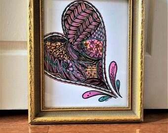 Heart - Wall Art Print of a hand-drawn original Zentangle
