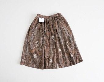 brown paisley skirt | 70s skirt | full skirt