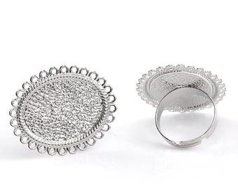 Flower silver Adjustable ring, (fits the 25x18mm cabochon)