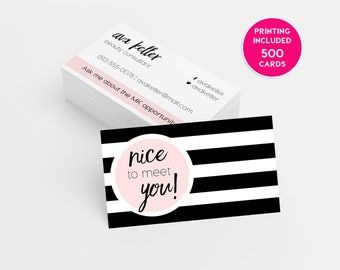Mary Kay Pink Striped 500 Business Cards Printed Business Card Template Personalized Card Independent Sales Director Beauty Consultant