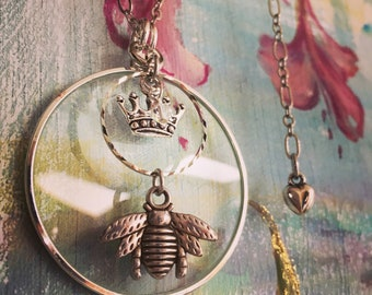 Mom's Queen Bee! Mothers Day Gift, Magnifying Necklace, Swarovski Crystal, Under 50 dollars, Magical, Magnifies Energy & Type,Gold or Silver