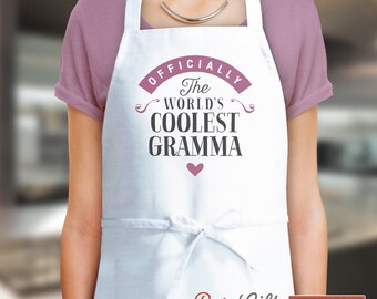 Gramma Gift, Birthday Gift For Gramma! Funny Apron, Coolest Gramma In The Kitchen, Cooking Gift, Awesome Gramma, Personalized