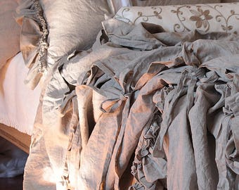 Pure Linen duvet cover 'Diane' with ruffles and ties - linen bedding Queen King size or CUSTOM SIZES - natural / taupe color
