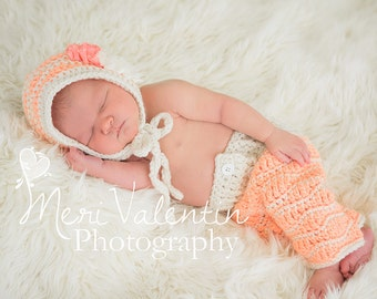 Crochet baby newborn Bonnet & Pants set photo prop - Pixie waves Custom made to order