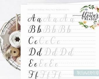 Lettering practice, Learn calligraphy, hand lettering guide, Brush lettering worksheets, modern calligraphy tutorial brush alphabet 06