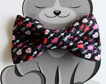 Valentine Bow Tie for Cat, Hearts, Dog Bow Tie, Slide on Collar Accessory, Cat Costume, Pet Bowtie, Black, Glitter, Red, Pink