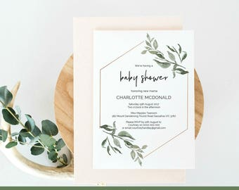 Baby Shower Invitation, Printable Modern Greenery Wreath Editable Instant  Download PDF Tempalte, WLP436