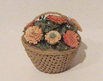 Miniature Basket of Flowers 1:12 scale