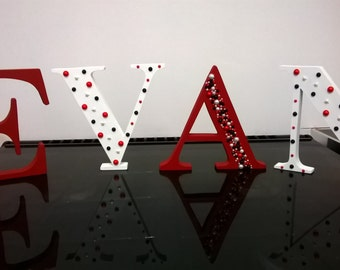 15cm freestanding letter, personalised initial, decorated wooden letter, painted 15cm letter, room decoration, New baby gift, wedding sign