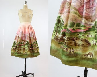 50s Skirt John Wolfe Western Corral XS / 1950s Vintage Cotton Full Skirt / Montana Skies Skirt
