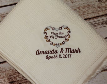 Personalized Wedding Blanket, personalized, wedding gift, throw, anniversary gift, handmade, embroidered, wedding blanket, wedding throw,