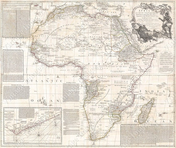 Map of Africa 1794 Africa map Gold Coast Vintage African map Antique Wall Map Restoration Style wall map housewarming gift Fine Art Print