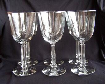 Libbey Glass Company Pattern-Stem 3002, Set of 6 Vintage Water Goblets
