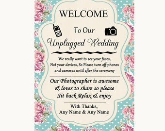 Vintage Shabby Chic Rose No Phone Camera Unplugged Personalised Wedding Sign