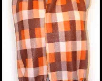 Simple Brown and Orange Fleece Scarf, Plaid Muffler, Neck Scarf