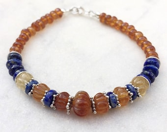 Hessonite garnet & Lapis Lazuli bracelet, layering gemstone boho chic bracelet, January birthstone jewelry, blue and orange stone bracelet