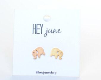 elephant earrings, elephant studs, elephant stud earrings, little girl earrings, playful earrings, animal earrings, gold elephant earrings