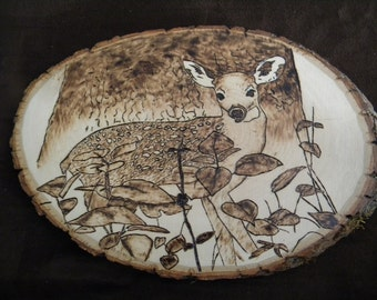 Fawn by Tree Woodburning