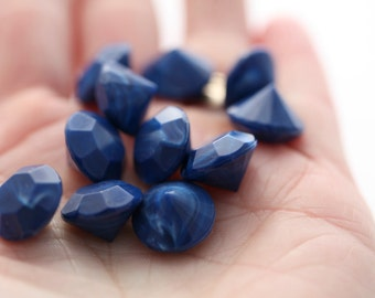 Vintage Lucite Stones Opaque Deep Blue Gems Chatons 14mm (10)