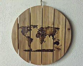 World Map Decor Sign