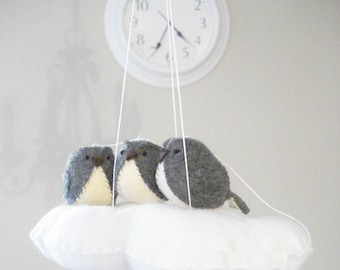 Gender neutral baby mobile in grey and white - monochrome nursery decor - cloud mobile with 3 birds