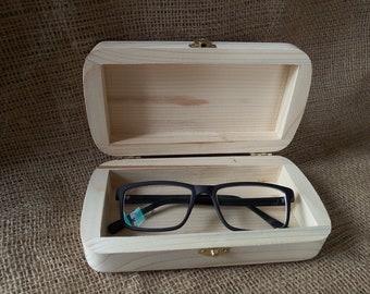 Natural Wood box eyeglasses case sunglasses case Unfinished wooden box glasses eco friendly eyeglass holder spectacle case Wooden Craft Box