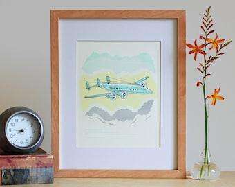 "Letterpress Wall Art – Airplane ""LaGuardia / Constellation"" Art Print"