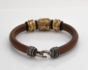 Agus Stainless Steel Vermeil and Leather Bracelet