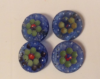Shabby Vintage Blue Glass Buttons- Self Shank