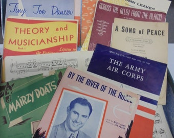 By the River set of vintage sheet music